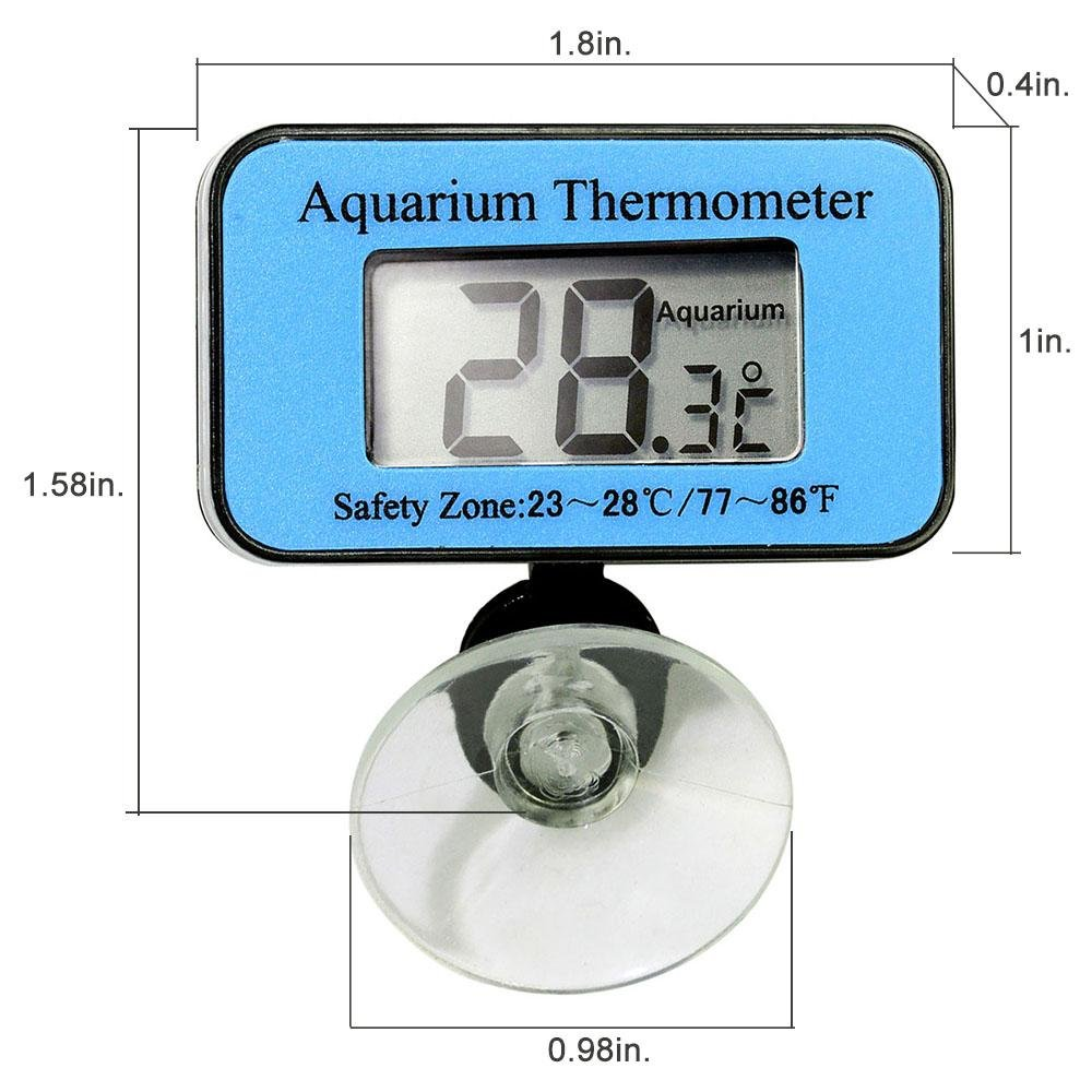 Elitech SDT-1 LCD Digital Aquarium Thermometer with Suction Cup Fish Tank Water Terrarium Temperature for Fish and Reptiles Like Lizard and Turtle - Elitechustore