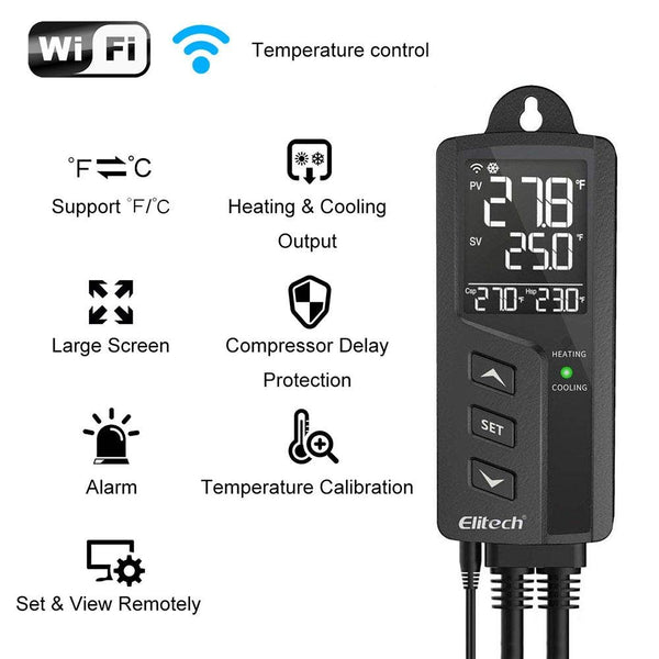 Elitech STC-1000WiFi Digital Temperature Controller Wireless Thermostat US Socket Heating and Cooling Outlets Centigrade/Fahrenheit LCD Display, Plug Sensor, 49℉-239℉ 110V 100-250V 10A 1200W - Elitech Technology, Inc.