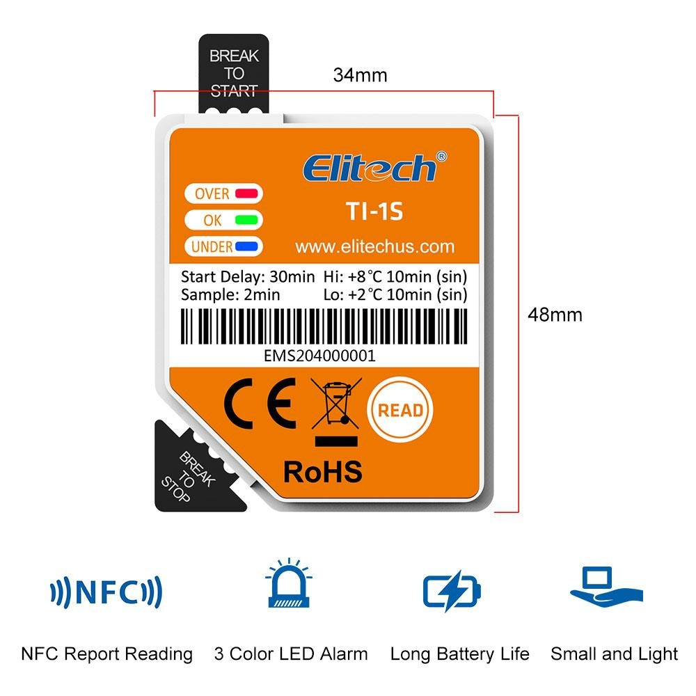 Elitech TI-1S NFC Disposable Temperature Recording Label - Elitech Technology, Inc.