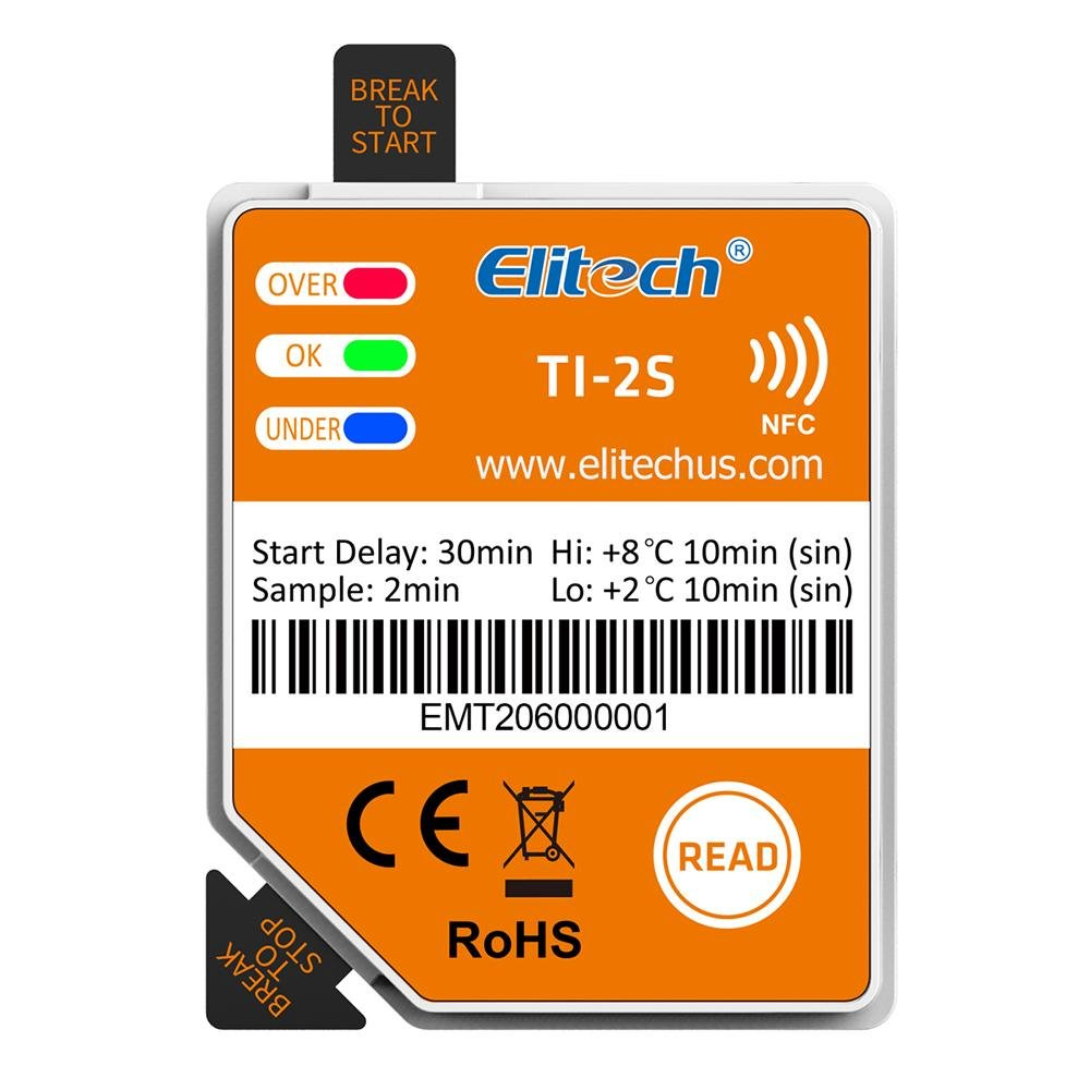 Elitech TI-2S NFC Temperature Data Logger Vaccine DDL Disposable Cold Chain Cargo Recorder Single Use Temperature Data Logging Labels for Android - Elitech Technology, Inc.
