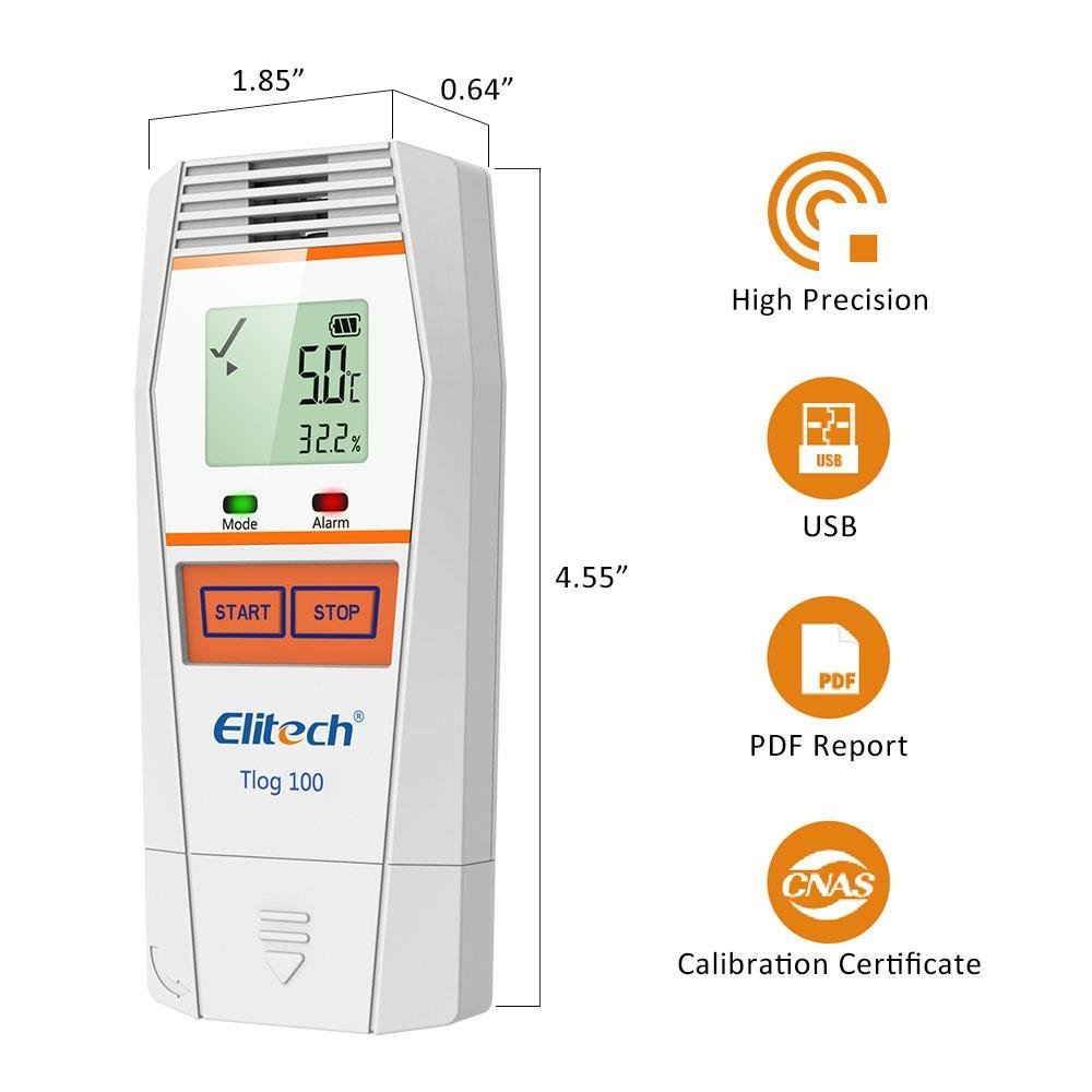 Elitech Tlog 100 Multi-Use Temperature Data Logger Accuracy ±0.6℉ - Elitech Technology, Inc.
