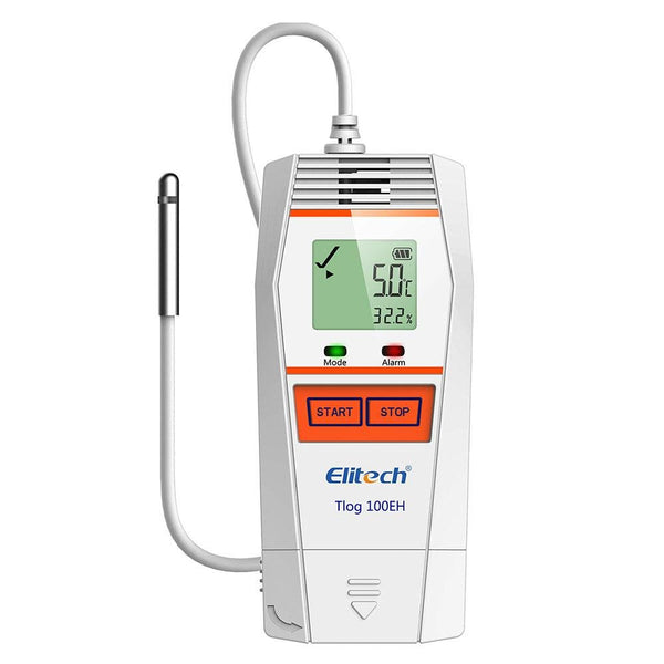 Elitech Tlog 100 Series Temperature and Humidity Data Logger Reusable PDF Report USB Port External Sensor 32000 Points - Elitech Technology, Inc.
