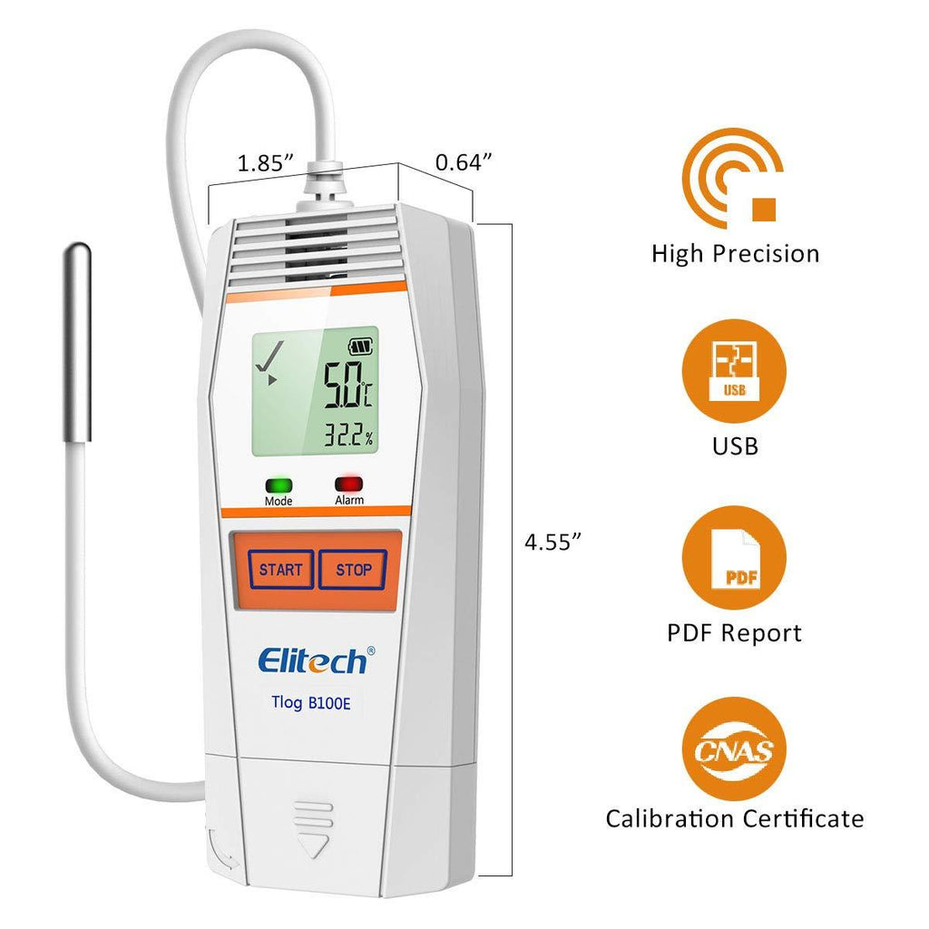 Elitech Tlog B100E Temperature Data Logger Wireless Reusable PDF Report External Sensor 32000 Points - Elitech Technology, Inc.