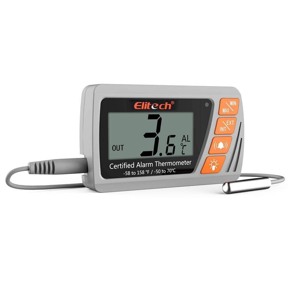 Elitech VT-10 Vaccine Thermometer with External Sensor Probe Refrigerator Freezer Thermometer for Incubator Cooler Pharmacy Audible Alarm - Elitech Technology, Inc.