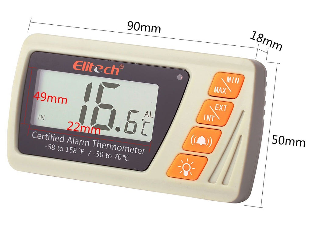 Elitech VT-10 Vaccine Thermometer With High Precision Thermometer And Hygrometer Medical Freezer Pharmacy Thermometer - Elitechustore