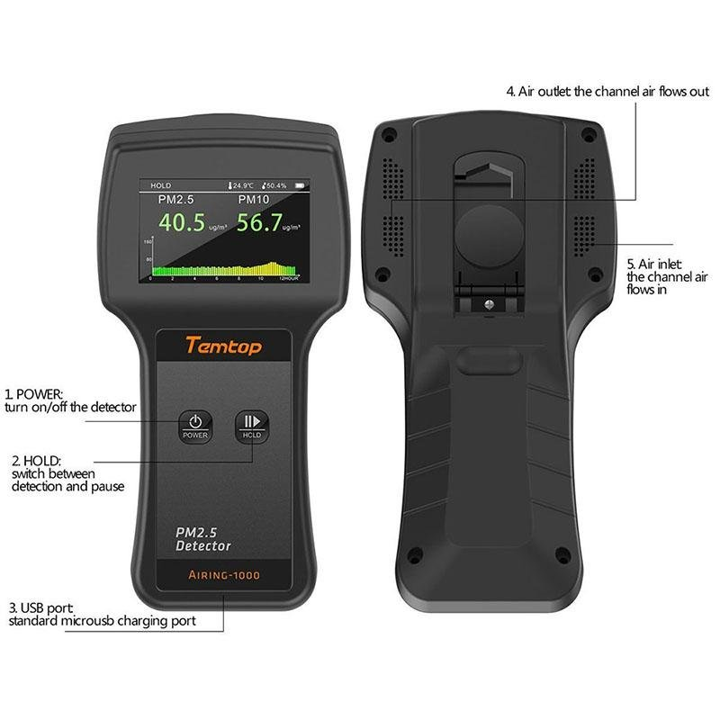 Temtop Airing-1000 Air Quality Monitor Real Time Display High Accuracy PM2.5/PM10 Detector - Elitechustore