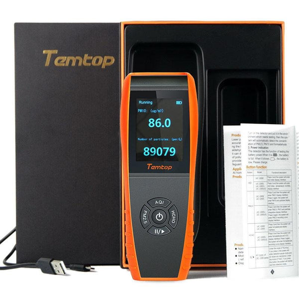 Temtop LKC-1000S Air Quality Detector Professional Formaldehyde Monitor Temperature and Humidity Detector with PM2.5/PM10/HCHO/AQI/Particles - Elitechustore