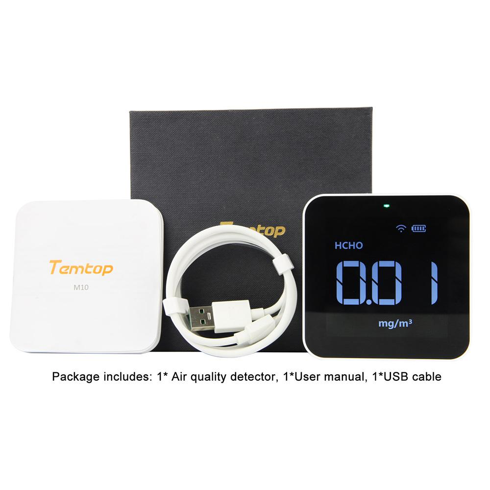 Temtop M10i Wireless Air Quality Monitor for PM2.5 HCHO TVOC AQI Professional Electrochemical Sensor Detector Real Time Display Data Exported - Elitechustore