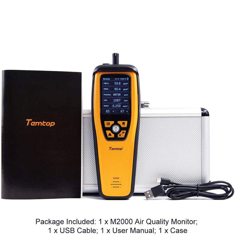 Therm M2000C Air Quality Monitor for PM2.5 PM10 Particles CO2 Temperature Humidity settable Audio Alarm Recording Curve Easy Calibration Colorful Display