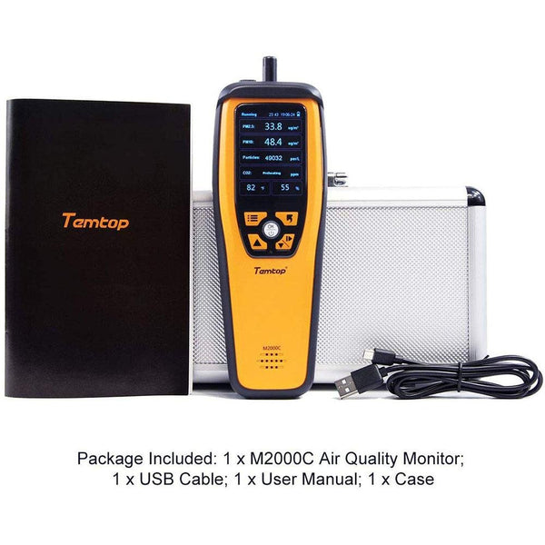 Temtop M2000C Indoor and Outdoor Air Quality Monitor Professional PM2.5/PM10/CO2 Monitor - Elitechustore