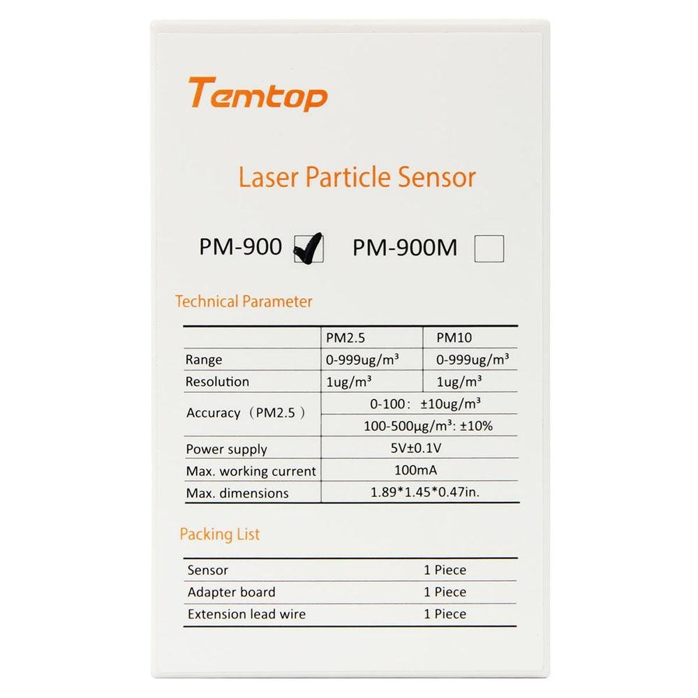 Temtop PM-900 Laser Particle Sensor for PM1.0/PM2.5/PM10 - Elitechustore