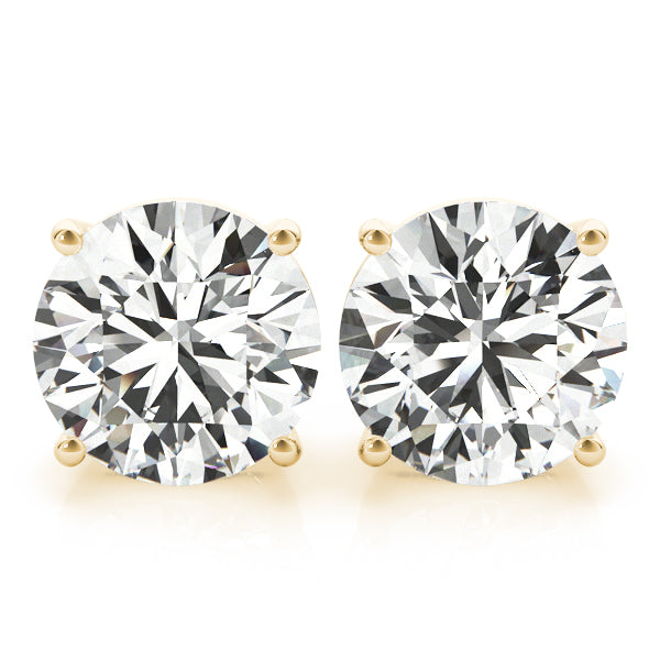 Diamond Stud Earrings Round 3.00 ct tw 14kt Gold Yellow