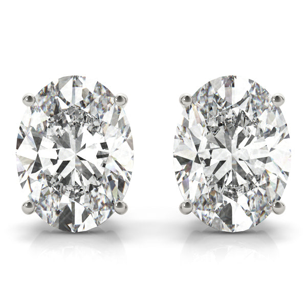 Diamond Stud Earrings Oval 1.00 ct tw 14kt Gold White