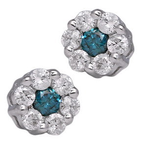 Blue and White Diamond Earring 0.67cttw 14kt Gold