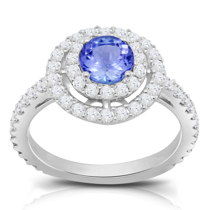 Tanzanite 0.80 ct tw Ring with 0.85 ct tw diamonds in 14kt White Gold