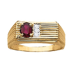 Men's Ruby 0.50ct and Diamond Ring 0.04ct tw 14kt Yellow Gold