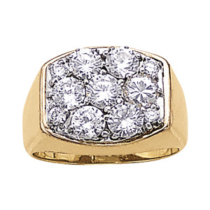 Men's Ring Diamonds 3.00 ct tw 14kt Gold Yellow & White Gold