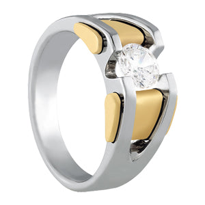 Men's Solitaire Diamond Ring 1.04 ct tw 14kt Gold Yellow & White Gold
