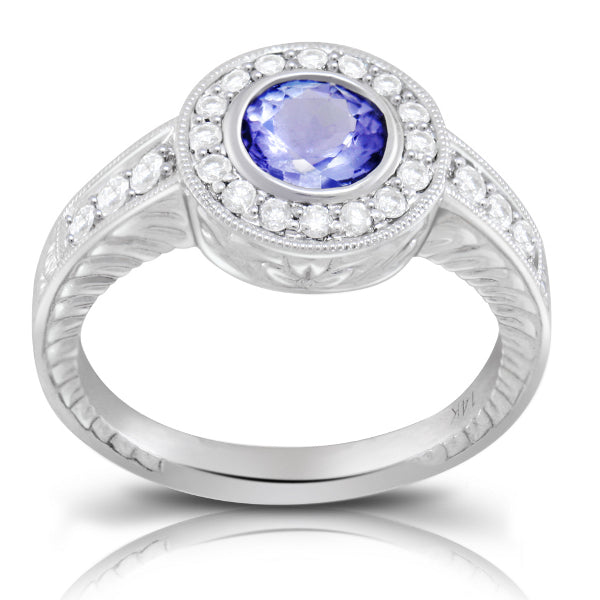 Tanzanite 0.82 ct tw Ring with 0.45 Diamonds in 14kt Gold