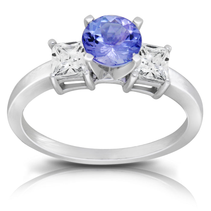 Tanzanite 0.84 ct tw Ring with 1.52 ct tw Diamonds in 14kt White Gold