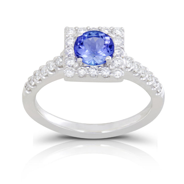 Tanzanite 0.85 ct tw Ring with 0.35 ct tw diamonds & 14kt Gold