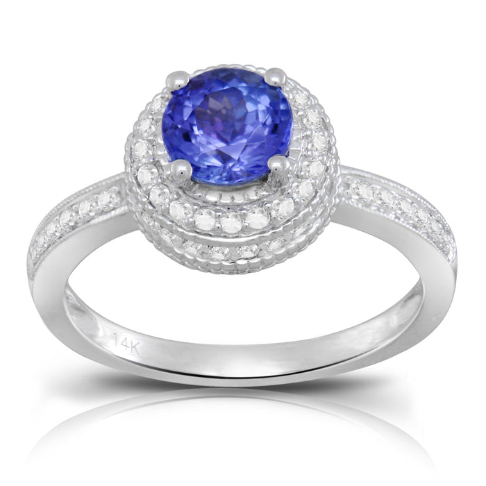 Tanzanite 0.78 ct tw Ring with 0.62 ct tw Diamonds in 14kt White Gold