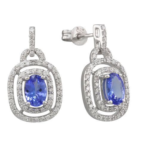 Tanzanite 2.60 ct tw earrings with 0.80 ct tw Diamonds & 14kt Gold