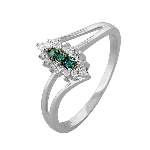 Blue and White Diamond Ring 0.82cttw 14kt Gold