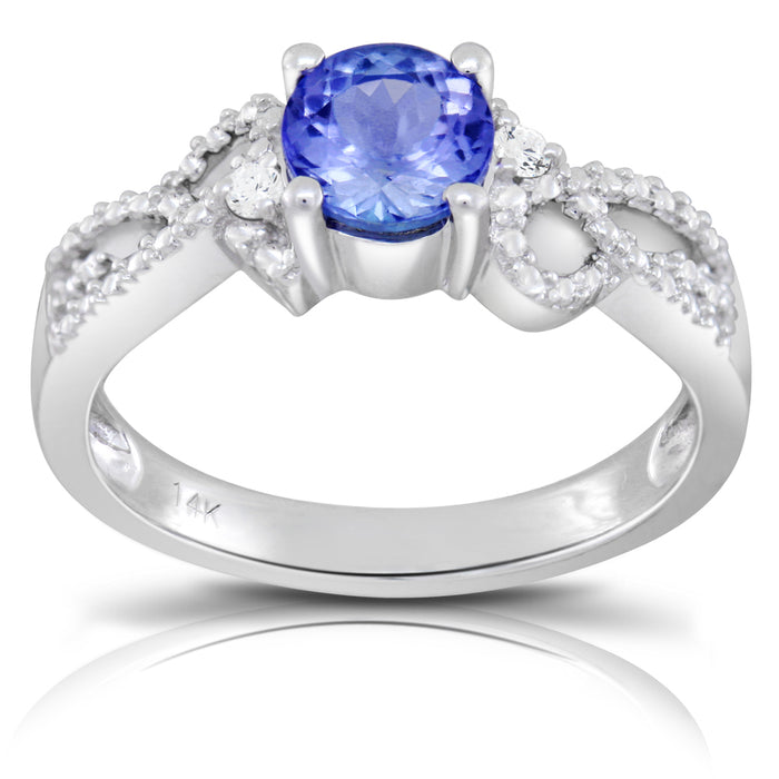 Tanzanite 0.85 ct tw Ring with 0.35 Diamonds & 14kt Gold