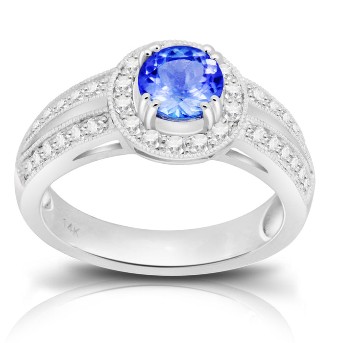 Tanzanite 0.85 ct tw Ring with 0.47 ct tw Diamonds in 14kt White Gold