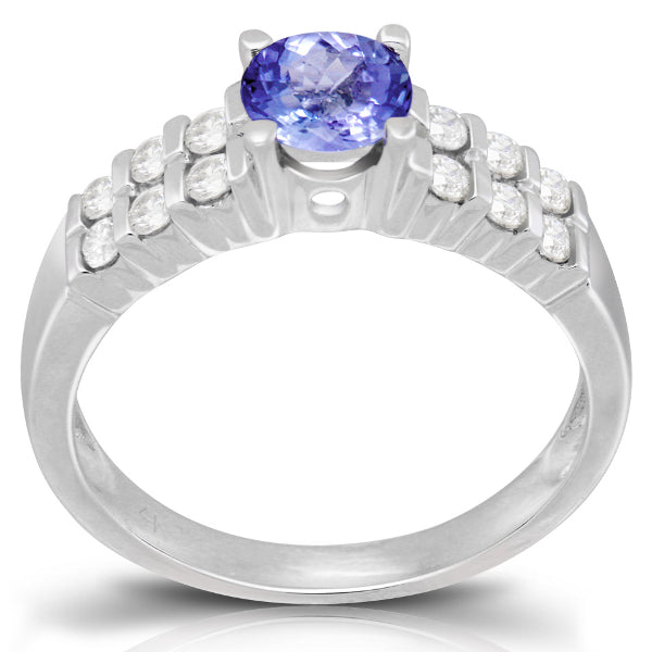 Tanzanite 0.80 ct tw Ring with 0.56 ct tw Diamonds in 14kt White Gold