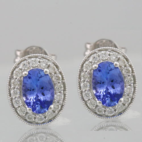 Tanzanite 1.18 ct tw earrings with 0.35 ct tw Diamonds & 14kt Gold