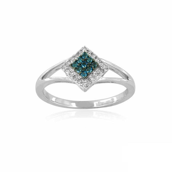Blue and White Diamond Ring 0.68cttw 14kt Gold