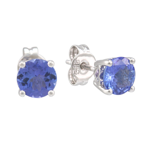 Tanzanite 0.48 ct tw earrings with 14kt Gold White