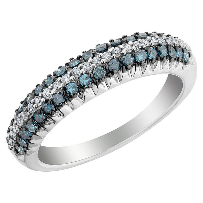 Blue and White Diamond Ring 0.58cttw 14kt Gold