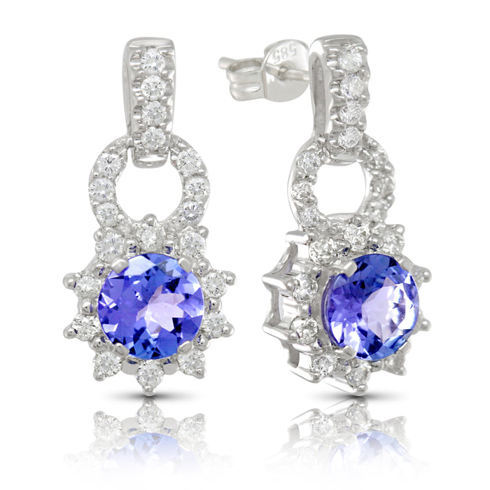 Tanzanite 1.74 ct tw earrings with 0.55 ct tw Diamonds with 14kt Gold