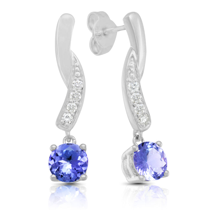 Tanzanite 1.80 ct tw earrings with 0.30 ct tw diamonds & 14kt Gold