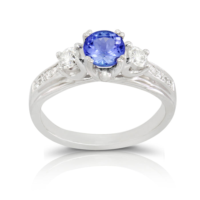 Tanzanite 0.85 ct tw Ring with 1.40 Diamonds in 14kt White Gold