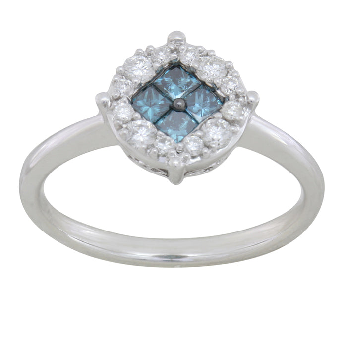 Blue and White Diamond Ring 0.77cttw 14kt Gold