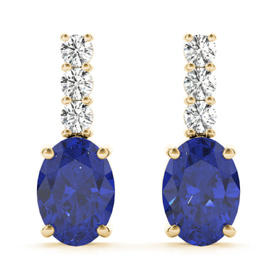 14K Yellow Gold Tanzanite and Diamond Earrings, cttw