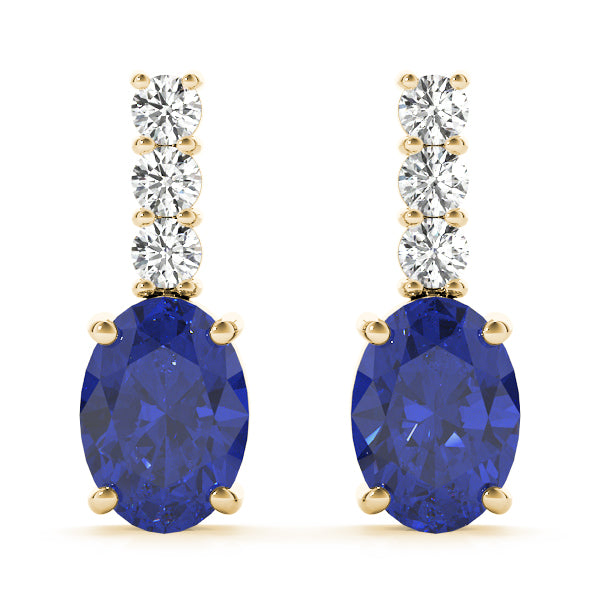 Sapphire 1.08ct & Diamond 0.28ct Earrings - 14kt Yellow Gold