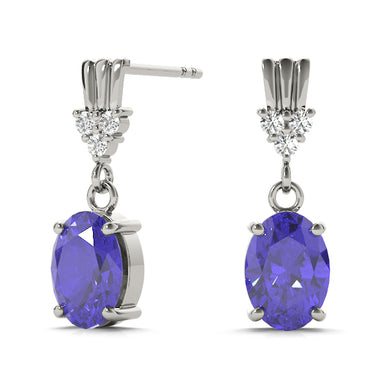 14K White Gold Tanzanite and Diamond Earrings, cttw