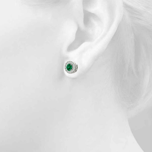 Emerald 2.16ct  & Diamond 0.44ct Earrings - 14kt White Gold