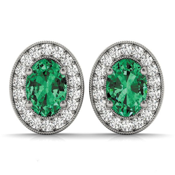 Emerald 2.67ct & Diamond 0.48ct Earrings - 14kt White Gold