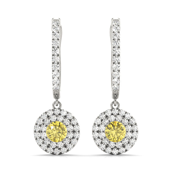 Citrine 1.09ct  & Diamond 0.47ct Earrings - 14kt White Gold