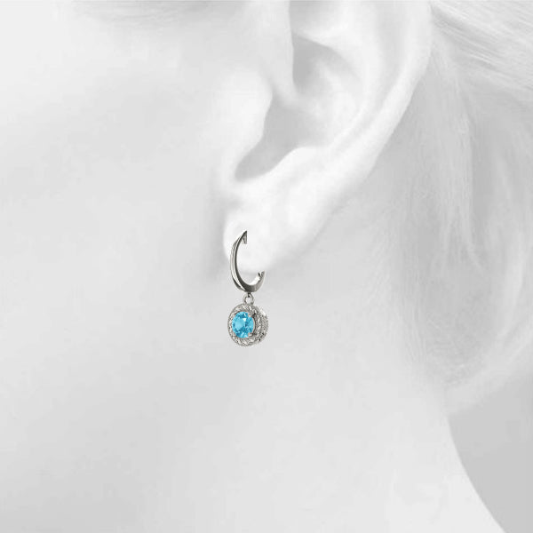 Blue Topaz 0.54ct Earrings - 14kt White Gold