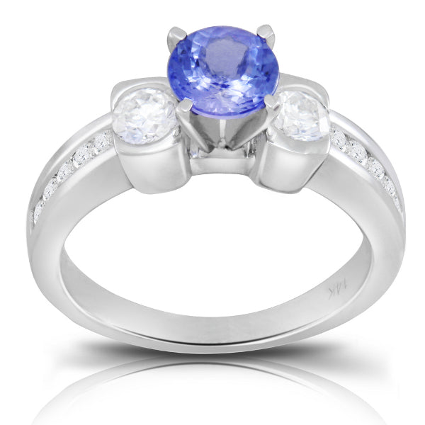 Tanzanite 1.00 ct tw Ring with 0.80 Diamonds & 14kt Gold
