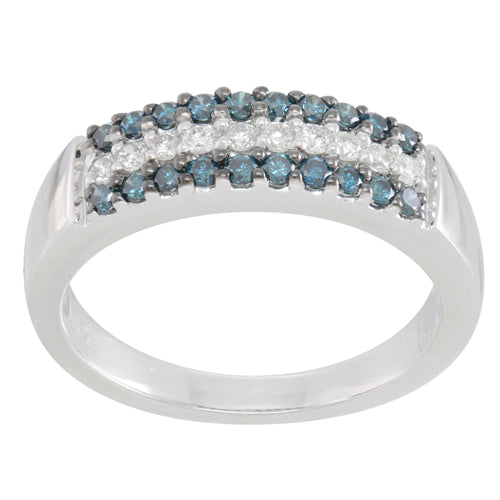 Blue and White Diamond Ring 0.72cttw 14kt Gold