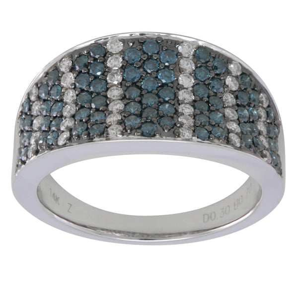 Blue and White Diamond Ring 1.26cttw 14kt Gold
