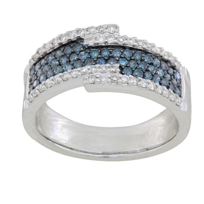 Blue and White Diamond Ring 1.08cttw 14kt Gold